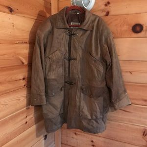 VINTAGE TAN PHASE 3 LEATHER TRENCH STYLE JACKET